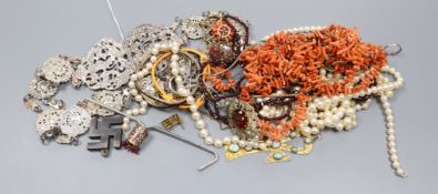 A silver belt and other jewellery including coral, cultured pearls and costume.