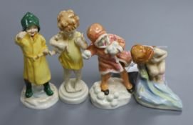 Four Royal Worcester Freda Doughty figures
