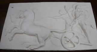 A plaster relief 'Nike and Alexander' W.97cm. H.53cm
