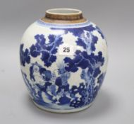 An 18th century Chinese blue and white ginger jar, lacks cover H.24cm