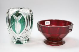A ruby glass bowl and an overlaid green vase