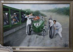 Max Brandrett, oil on canvas, Motor racing pitstop, signed 60 x 90cm