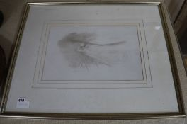 Charles Prosper Sainton (1861-1914) silverpoint, Woman amongst reeds, signed 26 x 42cm