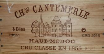 A case of six Chateau Cantemerle Haut Medoc wine, 2016