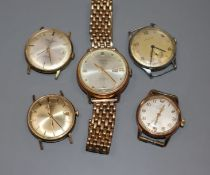 Five assorted gentleman's wrist watches including Rotary and Oris.