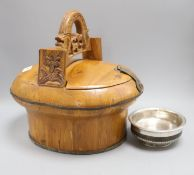A 19th century Tibetan or Chinese silver mounted alms bowl and a Chinese pine lunch picnic box