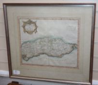 Robert Morden, coloured engraving, Map of Sussex, 35 x 42cm.