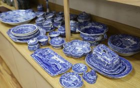 A quantity of Copeland and Spode Italian blue and white wares and two Wedgwood and Co. platters