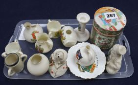 Famille rose jar and crested china