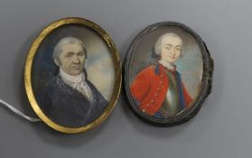 19th century English School, gouache on ivory, two oval portrait miniatures on ivory of gentlemen