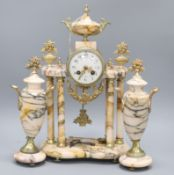 A pink marble French pillar clock garniture H.45cm