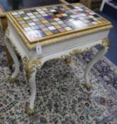 A George III-style painted parcel gilt centre table with specimen marble top W.86cm