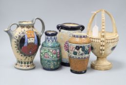 An Ernst Wahliss basket, three Amphora pottery vases and a similar jug Tallest 28cm