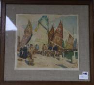 Tavik Frantisek Simon (1877-1942) - A signed colour print of fishermen on a quay 34 x 38cm