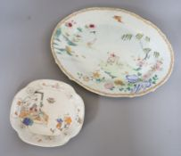 Two 18th century Chinese famille rose dishes Length of largest 38cm