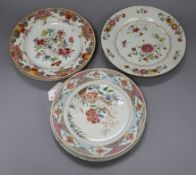 Six Chinese famille rose plates, Qianlong period