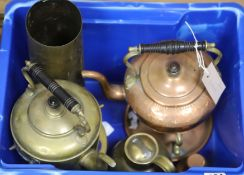A quantity of brass and copper items