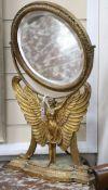 A gilt framed 'angel' toilet mirror H.63cm