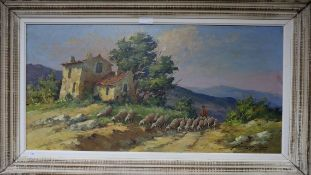 Fortune Car (1905-1970) oil on board, French Provence country scene of sheep, signed 50 x 100cm