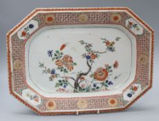 An 18th century famille verte tureen stand, Kangxi period, L.39cmEx Berheimer Collection