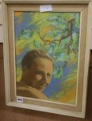 M. Laurie, pastel, Study of a young man and tree branches, signed and dated 1950 39 x 29cm