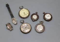 Five assorted pocket/fob watches including silver and two paste set wrist watches.