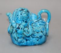 A turquoise ground wine pot in the form of a Buddhist lion