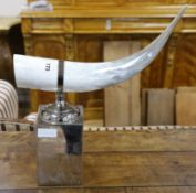 A chrome and horn centrepiece H.37cm