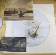 Don Micklethwaite, oil on board, Harbour storm, Scarborough, 20 x 26cm and two other marine studies,