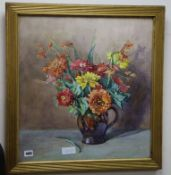 Beryl Matchwick, watercolour, Still life of flowers in a jug, signed 52 x 49cm