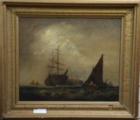 Manner of Charles Dixon, oil on canvas, Shipping off coast 50 x 60cm19.5 x 23.5in.