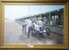 Max Brandrett, oil on canvas, Vintage motor racing pitstop, signed 60 x 90cm