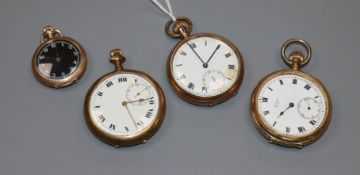 Four assorted gold plated pocket watches.