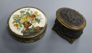 A 19th century painted ivory circular snuff box and a patinated copper trinket box (2) Snuff box