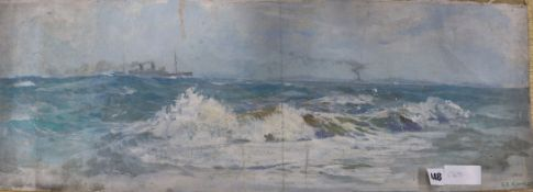 Stanley Charles Rowles (1887-1979) - oil on canvas, Warships off the coast, signed 26 x 73cm -