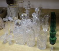Eight decanters and a quantity of table glassware