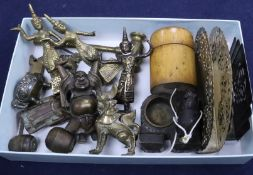 A Chinese Buddha, locks, Black Forest bear inkstand, two letter racks, a gavel and treen pot, A