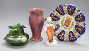 A Loetz style vase, Faience dish, etc