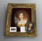 Viennese and German School, 19th century, two oval portrait miniatures on ivory of ladies 8 x 6.5cm