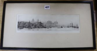 William Lionel Wyllie (1851-1931), etching and drypoint, The Thames at Greenwich with the Royal