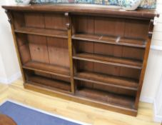 A Victorian mahogany four shelf open fronted bookcase, fitted four shelves, in two sections W.182cm