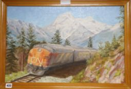 Canadian School, oil on board, Canadian locomotive 39 x 59cm