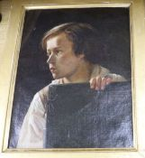 Late 19th century French School, oil on canvas, Portrait of a young boy holding a folio 46 x 36cm
