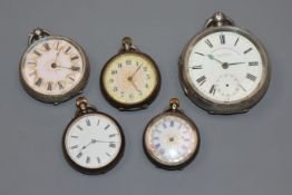 Five assorted silver/white metal pocket/fob watches.