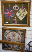 Two military woolwork panels and frame
