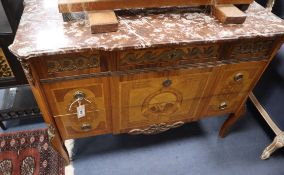 A pair of Louis XVI style marble top commodes W.110cm