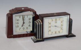 Two Art Deco brown bakelite mantel clocks