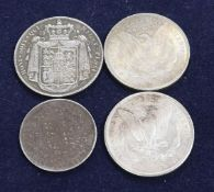 A William IV silver crown, 1836, GVF two Morgan dollars 1884 and 1900 and a Victoria silver double