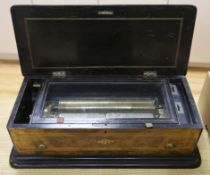 A late 19th century Swiss 'Sublime Harmonie' walnut music box, cylinder 28cm