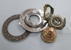 A compass Lancaster JB659 clutch plates and part shell case